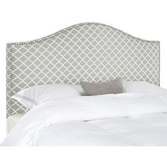#FeedtheChildren Make an elegant statement with the Connie king headboard in tightly upholstered grey and white diagonal plaid fabric with thick padding to assu...