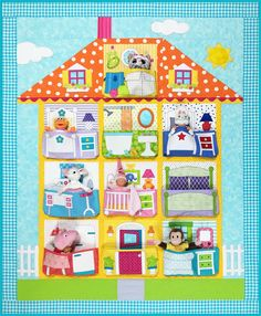 Dollhouse quilt pattern includes full size patterns, placement sheets, and instructions to make a 10 block and 13 block quilt. Each block has a pocket for a child's favorite toys to fit. The 13 block version measures 48 x 70 The 10 block ver House Quilt Patterns, Fabric Patterns, Applique Patterns, Quilting Patterns, Quilting Ideas, Patchwork Quilting, Applique Quilts, Jellyroll Quilts, Quilting Projects