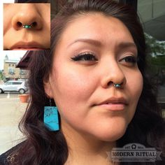 Odessa looks quite majestic with her new septum piercing which we just so happened to match up with her turquoise earrings!  Septum by Reba, jewelry by Anatometal. #modernritual #Anatometal #septumpiercing #newpiercing #lookyourbest #feelyourbest...
