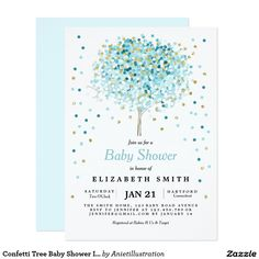 Confetti Tree Baby Shower Invitation Blue Gold