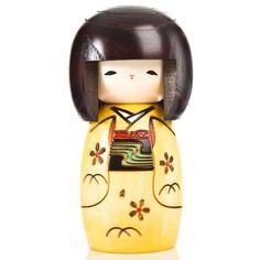 Yellow Happy Girl Authentic Kokeshi Doll