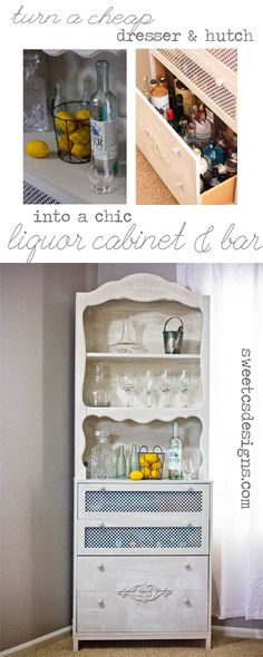 turn an old dresser and a trashed hutch into a chic liquor cabinet and bar- it is so easy and kid-proof! With awesome touches like metal detailing and wood flourishes to make it completely custom!