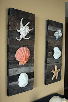Beach Decor Shells on driftwood for Coastal Decor. via Etsy.