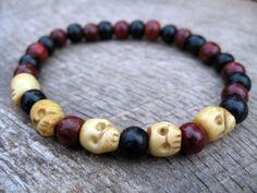 Mens tribal surfer bracelet ox bone skull by thehappymushroom, £5.50