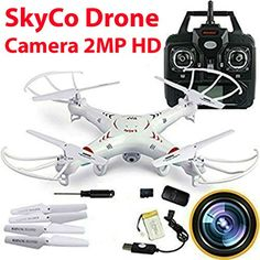 SkyCo RC Quadcopter with 2MP Video Camera,4 Ch 2.4ghz 6-gyro, Remote Control Drone Equipted with Headless System Drones Quadcopters ** Click image for more details.