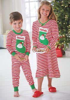 From CWDkids  Personalized Stocking Pajama Collection. Baby Girl Christmas  Pajamas 879dd8925