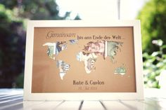 Looking for a wonderful wedding gift? Then this cash gift is just the thing! You will receive a cut-out world map in paper including frames. Wedding Frames, Wedding Cards, Wedding Gifts, Money Frame, Birthday Gifts, Diy And Crafts, Gift Wrapping, Wrapping Ideas, Things To Come