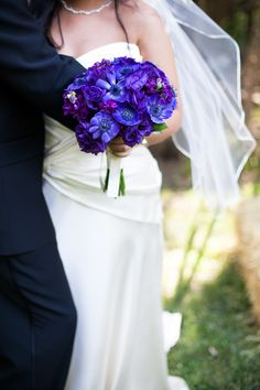 Real Colorado Weddings | Wedding Dress Photos - anna bé | Blue and Purple Wedding Flowers