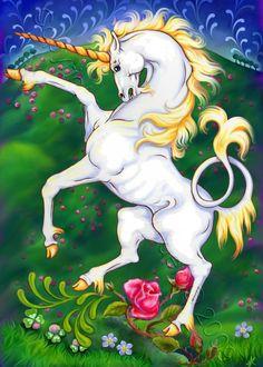 Unicorn Fantasy Horse Art Print Medieval by DeLaRenaissance