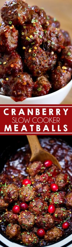 Slow Cooker Cranberry Meatballs - Homemade Italian meatballs slow cooked in a sweet and spicy cranberry sauce.  Serve these beef cocktail meatballs at your next holiday party. #appetizer #slowcooker #beef ad
