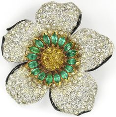 KTF Trifari 'Alfred Philippe' Pave Emerald and Citrine Flower Trembler Pin
