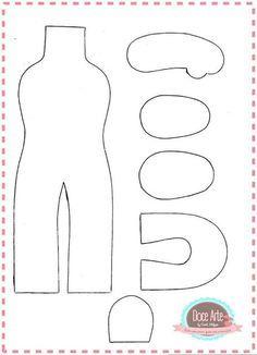 Bonecas com moldes para feltro Baixar moldes de feltro para produção de bonecas. Inspire-se nestas lindas bonequinhas em feltro . ... Felt Crafts Diy, Felt Diy, Doll Crafts, Diy Doll, Moldes Para Baby Shower, Doll Sewing Patterns, Felt Dolls, Unicorn Birthday, Book Cover Design