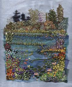 This hand sewn Monet's garden is ideal for the centre of your patchwork quilt