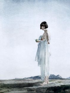 Sir William Russell Flint | Eve, the girl with bobbed hair