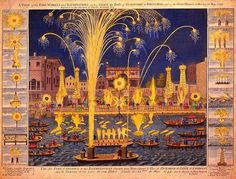 "An engraving of the 1749 fireworks display that inspired Handel's ""Music for the Royal Fireworks."""