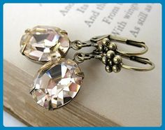 Vintage Rhinestone Earrings Swarovski Crystal Light Peach Antiqued Brass - Bridesmaid gifts (*Amazon Partner-Link)