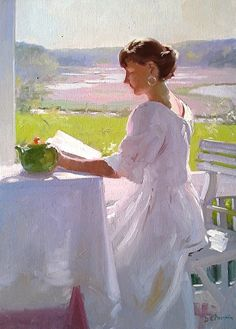 ✉ Biblio Beauties ✉ paintings of women reading letters & books - Dennis Perrin | On the Porch, Reading