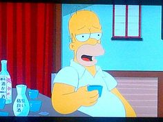 Homer Simpson getting his #sake on.  日本酒馬鹿!