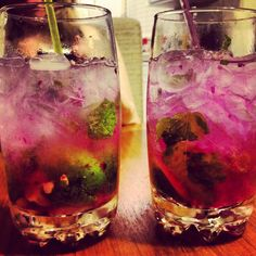 Dragonfruit Mojitos! Take Sweet Mint, 1 small Key Lime, Sugar, Lime juice and a small amount of Tonic and muddle in a high ball glass. Fill glass with ice and add one shot of Barcardi Dragon Berry Rum and your desired amount of Tonic. Add in a slice of fresh Dragonfruit for a garnish and to add color, stir and enjoy!! A great taste for the end of summer!