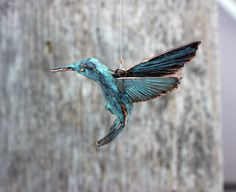 Hanging Hummingbird copper pewter sculpture by EarthlyCreature
