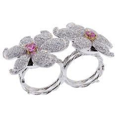 Contemporary Diamond and Pink Sapphire Double Flower Ring, 2015