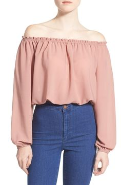 ASTR Off the Shoulder Long Sleeve Crop Blouse available at Crop Blouse, Weekend Outfit, Lovely Dresses, Blouse Styles, Cute Casual Outfits, Long Sleeve Crop Top, Korean Fashion, Fashion Outfits, Clothes For Women