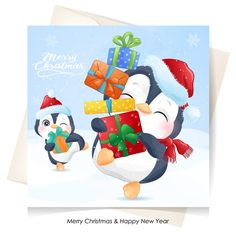 Cute penguin for christmas with waterco... | Premium Vector #Freepik #vector Merry Christmas Background, Merry Christmas Banner, Merry Christmas Greetings, Christmas Labels, Christmas Gift Box, Merry Christmas And Happy New Year, Christmas Greeting Cards, Christmas Photos, Christmas Wreaths