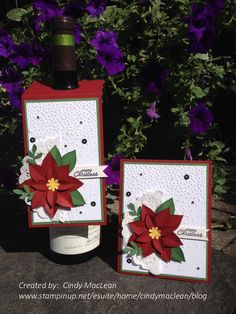 """I love the new Festive Flower Builder Punch - available from Stampin' Up! It can be purchased alone or in a """"Reason For The Season Photopolymer Bundle"""" for even better value. The resulting poinsettias are beautiful and come together quickly. Poinsettia Cards, Christmas Poinsettia, Stampin Up Christmas, Christmas Cards To Make, Christmas Settings, Christmas Gift Tags, Xmas Cards, Holiday Cards, Winter Karten"""