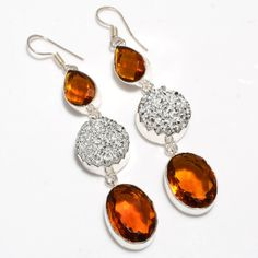 Dangle Earrings – Women's Earrings - Citrine And Druzy Gemstone – a unique product by 925silvercollection on DaWanda