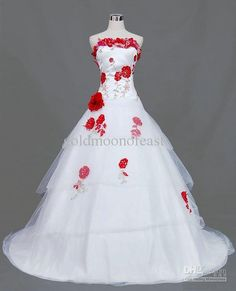 Unique Wedding Dress with Red Flowers - https://www.floralwedding.site/wedding-dress-with-red-flowers/