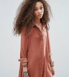 Glamorous Petite Satin Swing Shirt Dress