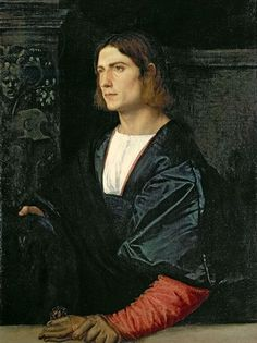 Titian–Tiziano Vecelli or Tiziano Vecellio (Italian c. 1488/1490–1576) [High Renaissance] Young Man with Cap and Gloves. 1512-1515. Collection of the Earl of Halifax, Garrowby Hall, Yorkshire; on loan to National Gallery, London.: