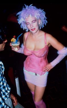 Clubber at Leigh Bowery's Taboo Club, London, mid 80s [e1660#5]
