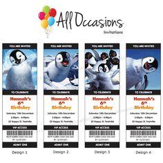 Personalised Custom Happy Feet Birthday Ticket Invitations Invites