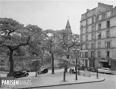 Angle de la rue Daubenton et de la rue des Patriarches. Paris (Vème arr.), 1950. Photographie de René Giton dit René-Jacques (1908-2003). Bibliothèque historique de la Ville de Paris.