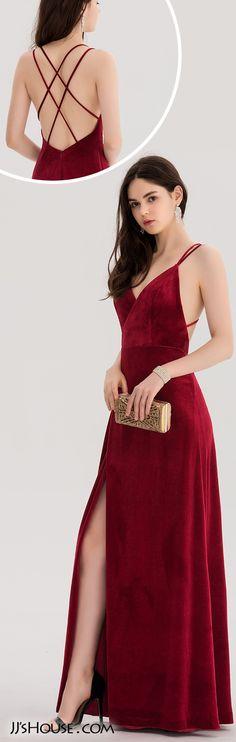 A-Line/Princess V-neck Floor-Length Velvet Prom Dress With Split Front#JJsHouse #Prom dresses