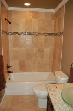 bathroom remodel on a budget our main bathroom remodel on a tight budget travertine bathroom tub showershower - Bathroom Tub And Shower Designs
