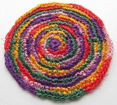 Coasters crocheted of linen thread