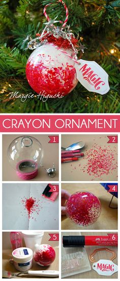 A fun holiday ornament I created using Design Memory Craft® Paper Crafter Crayon™ in a combination of red and pink colors. Not only was it FUN to make but I love how the design reminds me of crushed candy canes :) I scraped the Paper Crafter Crayons using the Palette Knife from our Gelatos Tool Set. I took about two teaspoon full of shavings and placed them into a round glass ornament.