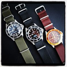 Rolex Submariner Maxi dial 5513 Rolex Sea-Dweller 16600 Rolex GMT Master 'nipple dial' 1675 - all on woven Nato straps.