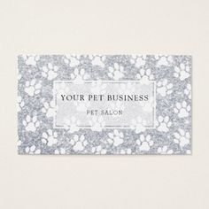 White Pet Paw Prints On Silver Glitter Business Card