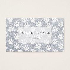 white pet paw prints on silver glitter
