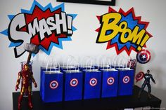 I'm sharing Avengers birthday party ideas so your kids can have the most SUPER party out there! 5th Birthday Party Ideas, Superhero Birthday Party, Birthday Party Decorations, Birthday Parties, Baby Avengers, Avengers Birthday, Superhero Baby Shower, Super Party, Baby Party