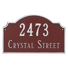 Montague Metal Vanderbilt 2-Line Standard Address Sign Wall Plaque - PCS-0060S2-W-HGS