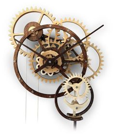 Kinetic Art Woodworking Plans by Derek Hugger Wooden Clock Plans, Wooden Gear Clock, Wooden Gears, Used Woodworking Tools, Woodworking Furniture Plans, Woodworking Basics, Woodworking Classes, Woodworking Apron, Woodworking Videos