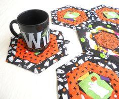 Coaster Table Topper - Hexagon Halloween Ghosts and Pumpkins, Black, White, Orange, Green