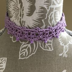 Purple Crochet Lace Choker Necklace 12 Handmade