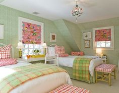 Katie Rosenfeld's green and pink girl's room