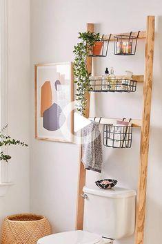 diy storage ideas for small bedrooms space saving Small Bathroom Storage 476537204322942747 - Devon Bath Leaning Storage Rack Source by valivaloche Bad Inspiration, Bathroom Inspiration, Cute Bathroom Ideas, Bathroom Designs, Garden Inspiration, Diy Casa, Modern Decor, Quirky Decor, Ladder Decor