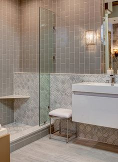 Contemporary Bathroom Using Smoke Grey Glass Subway Tile Installed  Vertically. Gorgeous Bathroom!! Https